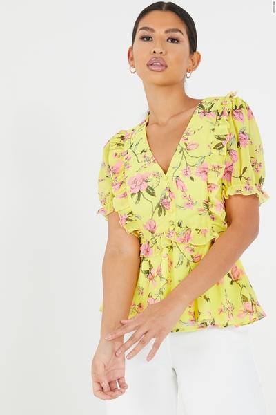 Yellow Floral Frill Peplum Top